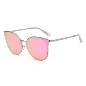 fa3a8444750 DONNA Trendy Oversized Mirrored Sunglasses Cat Eye Frame Circle Lens Hippie  Hipster Style D09(Pink)
