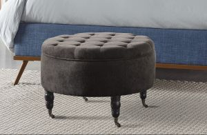 Elle Decor Quinn Round Tufted Ottoman With Storage And Casters Gray