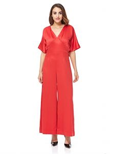 b6ae53227bef bYSI Gloria V Neck Ribbon Long Jumpsuit for Women - Red