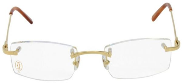 daf6355ed7bd Cartier Glasses Frame Rimless Unisex - Gold
