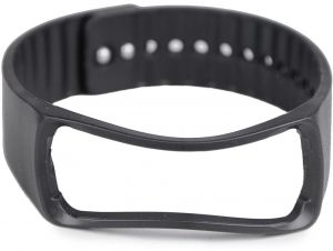 SAMSUNG GEAR Fit SM-R350 - Replacement Rubber Wristband Bracelet Strap with Metal Clasp - Black