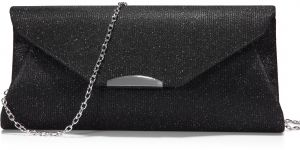 30fb46690155 Evening Bag Clutch Handbags Envelope Purse for Women Flap Glitter with  Chain Strap for Wedding Party Black