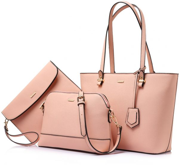 Handbags for Women Shoulder Bags Tote Satchel Hobo 3pcs Purse Set Pink 0e826750df