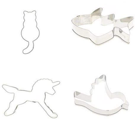 Animal Flower Butterfly cutter mould tool bake cake craft stainless steel silver Cat, fish, horse, bird