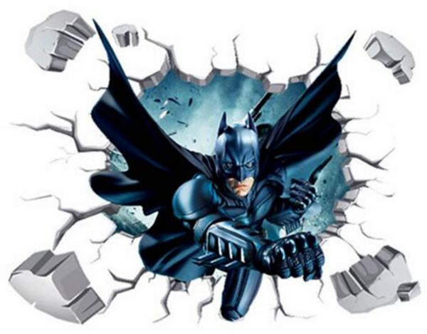 diy removable 3d batman wall art mural wall sticker children room