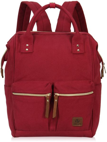 eb7a5210fd5e Veegul Stylish Doctor Style Multipurpose Canvas School Travel Backpack for Men  Women Dual Pockets Red VGD