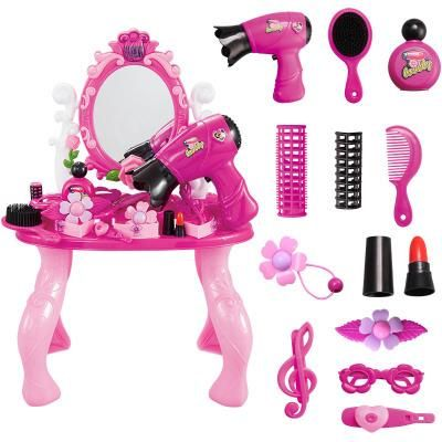 Kiddie Play Pretend Play Kids Vanity Table And Chair Beauty Play Set With  Fashion U0026 Makeup Accessories Play House Girl Toy Dream Princess Dressing  Table ...