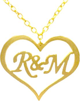 Buy gold plated name pendant with heart and letter r and m 3500 aed thecheapjerseys Gallery