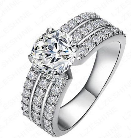 Cubic Zirconia Sterling Silver Wedding Engagement Ring for Women