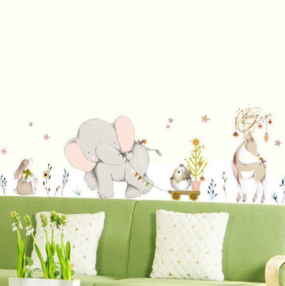 lively forest cute animals rabbit elk happy baby elephant wall