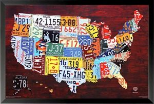 Sale on buyartforless framed world map vintage style 36x24 art framed united states license plate map 36x24 art print poster wall decor pop art rustic educational gumiabroncs Choice Image