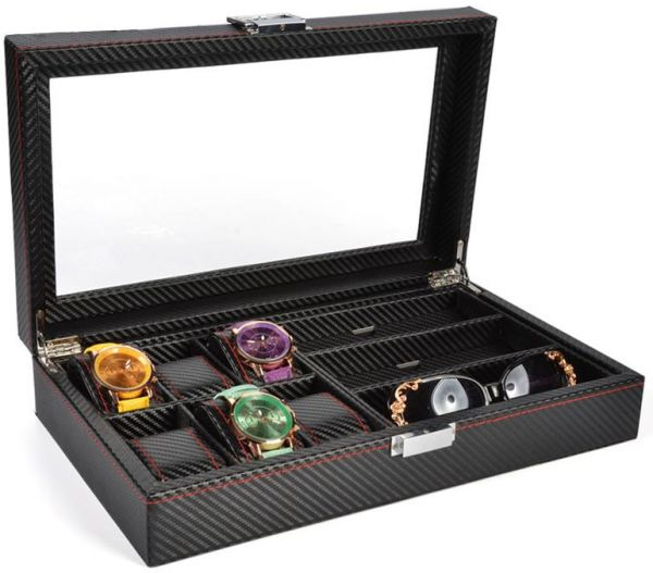09c5a712712 2 in 1 Watches Sunglasses Glasses Eyewear Storage Box High-Grade Carbon  Fiber Wood Jewellery Storage Case