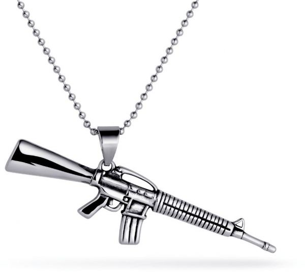 Stainless steel gun pendant necklace price review and buy in uae stainless steel gun pendant necklace mozeypictures Images