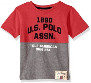 08320d598 U.S. Polo Assn. Little Boys' Short Sleeve Fancy V-Neck T-Shirt, Plastisol  Print Printed Patch Red Heather, 4