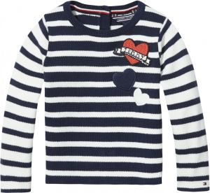 0184b17aa Tommy Hilfiger Little Stripe Sweater for Girls - 12 to 18 Months, Navy  Blazer/Marshmallow
