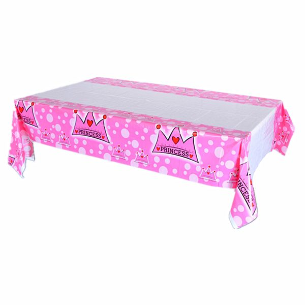 Disposable Princess Crown Party Table Cloth Cartoon Plastic