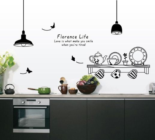 Restaurant Lamp Tableware DIY Vinyl Wall Sticker Decal Home Decor Art Accessories Decoration For Kitchen Dining Room XX