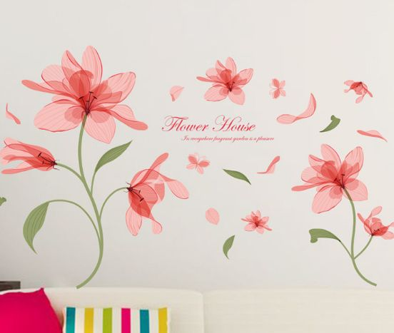 Ethereal flower Flowers Wall Sticker On The Wall VinYl Wall Stickers Gome Decor Bedroom Backdrop Wall Decals-XX   Souq - UAE