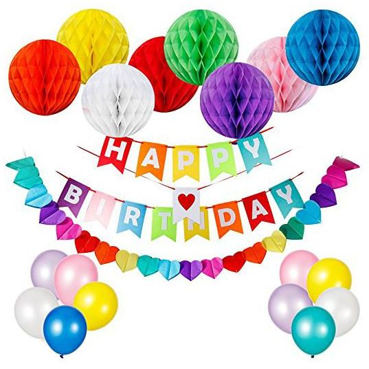 Happy Birthday Decorations Supplies Banner And 8pcs Colorful Paper