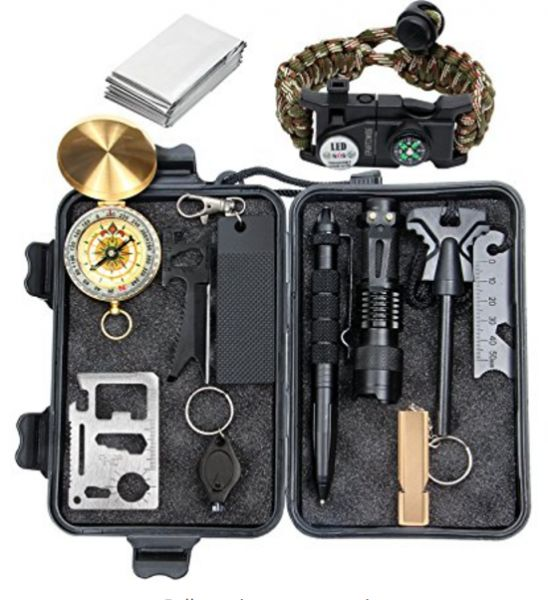 ac484cb6a0 VIQILANY Emergency Survival Kit Survival Gear 12 in 1 Lifesaving Emergency  Tools with SOS Survival Bracelet Flashlight Portable Knife Compass Emergency  ...