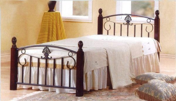 Single Steel Bed With Wooden Legs 190 X 90 Cms Mahogany Souq Uae