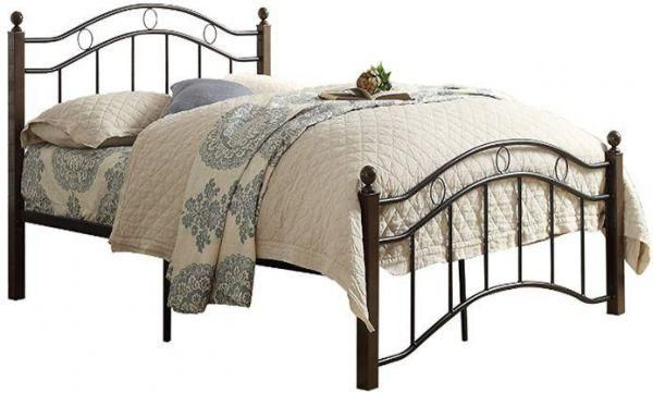 queen size 190x150 cm steel bed frame with wooden legs mahogany souq uae. Black Bedroom Furniture Sets. Home Design Ideas