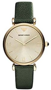 719f44821b08 Emporio Armani Women s Champagne Dial Leather Band Watch - AR1726