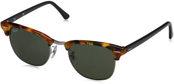 c6f6047dd1 Ray-Ban CLUBMASTER - SPOTTED BLACK HAVANA Frame GREEN Lenses 49mm  Non-Polarized