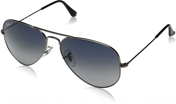 abe6e43daac607 Ray-Ban 3025 Aviator Large Metal Non-Mirrored Polarized Sunglasses, Gunmetal  Blue Grey Gradient (004 78), 58mm   Souq - UAE