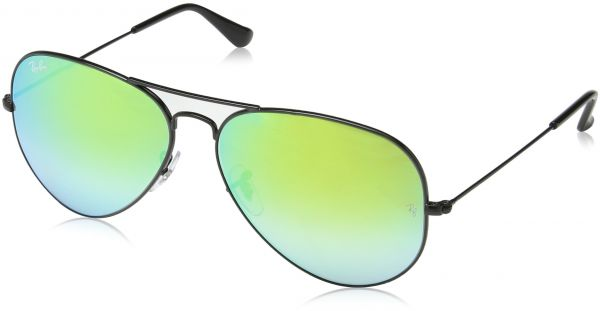 aa0016089e4f Ray-Ban AVIATOR LARGE METAL - SHINY BLACK Frame MIRROR GRADIENT GREEN Lenses  58mm Non-Polarized