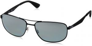 e4be9ae1d8 Ray-Ban METAL MAN SUNGLASS - MATTE BLACK Frame GREY MIRROR SILVER GRAD POLAR  Lenses 61mm Polarized