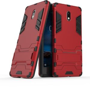 NOKIA 3 Armor 2 in 1 Detachable with Stand Support Hard PC + Soft TPU Hybrid Back Cover Case - Red