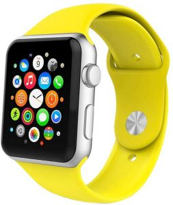 9855dd2ed Watch Sport Band, Soft Silicone Replacement Strap For iWatch Bracelet 42mm,  Yellow