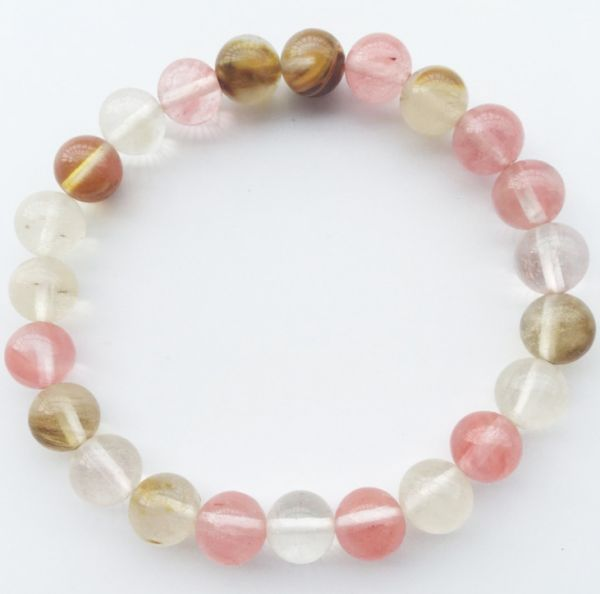 0ead4cfff5627 Pink Quartz Bracelet Natural Crystal Gem Stone Beads Tree of Life Charms  Meditation Ethnic Jewelry