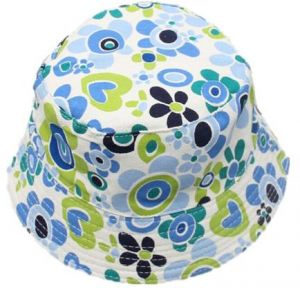 Baby Bucket Sun Protection Hat Kids Sun Hat Breathable Cotton Blue Flower  for 2-6 Years Baby 95253e59864