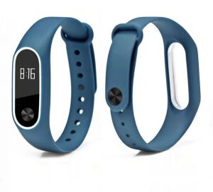 xiaomi miband 2 strap replacement silicone wriststrap - deep blue & white