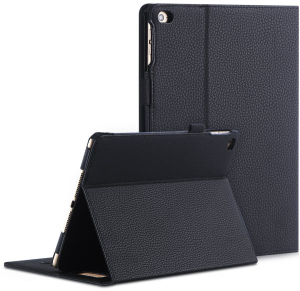FYY Leather Case with Apple Pencil Holder for iPad Air 2/iPad Air/iPad 9.7 2017/2018 - Folio Flip Wallet Case Smart Cover with Hand Strap Card Slots for Apple iPad Air 2/Air/iPad 9.7 2017/2018 Black