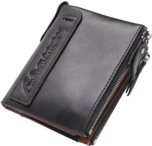 Men's Soft Real Cowhide Leather Cowboy Wallet Cow Leather Bifold Short Wallet Card Holders Purse, Black-QB12-2