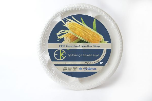 EKE Disposable Unbreakable Cornstarch Round Portion Tray 10