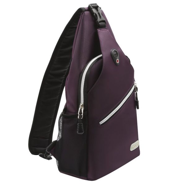 4d456f6ad MOSISO Sling Backpack, Polyester Crossbody Shoulder Bag for Men Women Girls  Boys, Purple