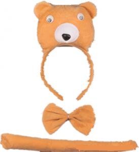 155b637c0 The cute animal Halloween bear headband is decorated with a three-piece set  of bow tie and tail party costumes.
