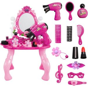 f2bad3e43 Beauty Dresser Toy Vanity Set Dressing Table with Mirror, Kids Vanity Table  and Chair Beauty Play Set with Fashion & Makeup Accessories Play House Girl  Toy ...