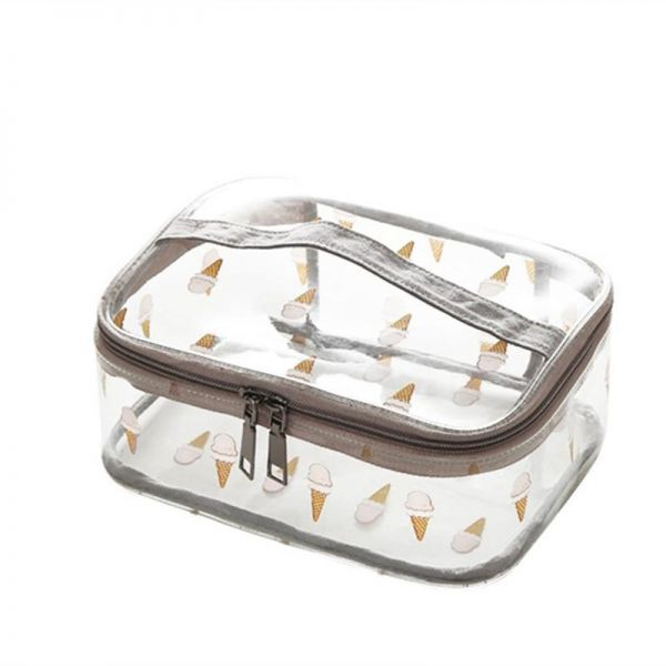 Printed Clear Cosmetic Bag Travel Makeup Train Case Organizer with Top  Handle Ice-cream  3f4e99b0f