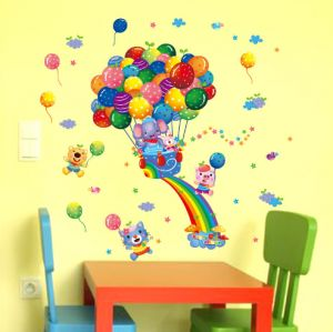 Colorful Rainbow Happy Balloon Pvc Wall Stickers For Kids Room Boys Girls Children Baby Bedroom Decorative Xsq