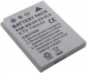 DMK Power EN-EL8 Li-Ion Rechargeable 730mAh Battery for Nikon Coolpix P1 P2 S1 S2 S3 S5 S6 S7 S8 S50 Etc Cameras