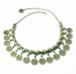 Silver Coin Necklace Boho Gypsy Beachy Ethnic Tribal Festival Jewelry 5115