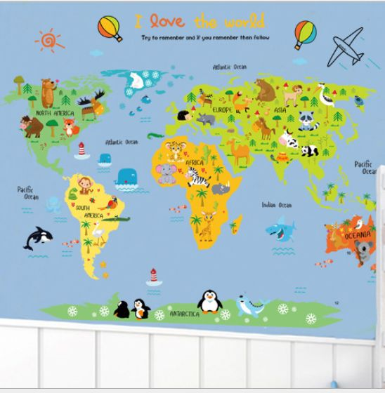Creative Animals World Map Creative Cartoon DIY Removable Wall Stickers Kids  Room Nursery Backdrop Home Decoration Wall Decals Ejv | Souq   UAE