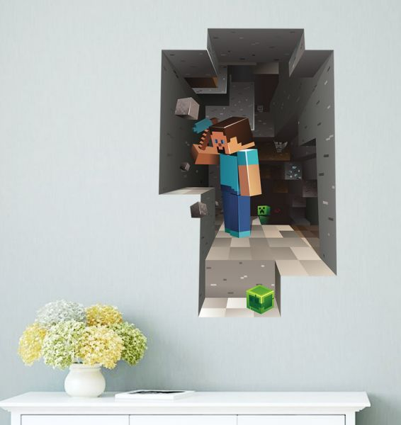 removable 3d wallpaper decals minecraft wall stickers for kids rooms