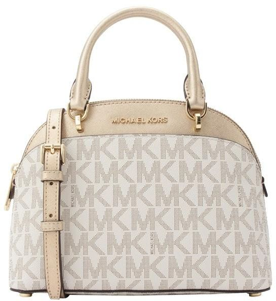 3f4d65113568 Michael Kors 35H7GY3S5M Emmy Small Cindy Dome Signature Logo Crossbody  Satchel Bag - Vanilla   Pale Gold