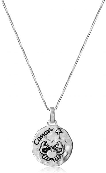 Sterling Silver Zodiac Sign Cancer Reversible Pendant Necklace 18